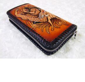 手工皮雕艺术-复古拉链式男士长款手包