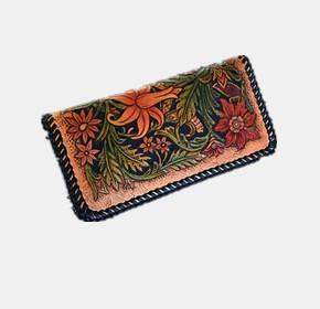 手工皮雕艺术-民族风复古女士拉链手包